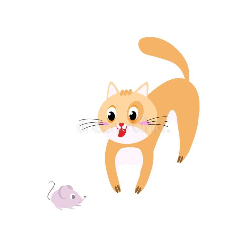逗人喜爱的橙色猫看使用与家庭老鼠 向量例证