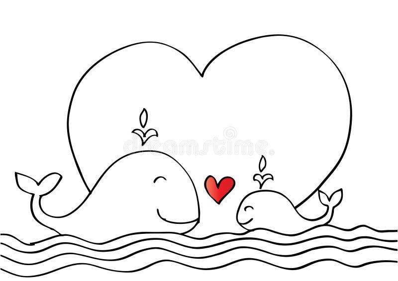 逗人喜爱的母亲鲸鱼和小鲸鱼 库存例证