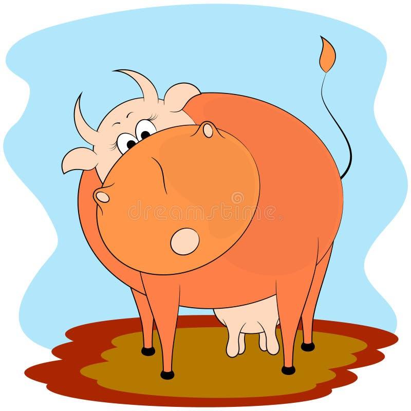 逗人喜爱的母牛动画片传染媒介例证 库存例证