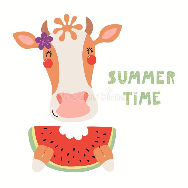 逗人喜爱的母牛在夏天 库存例证