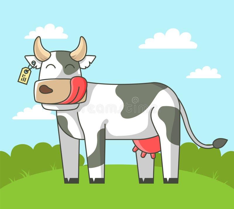 逗人喜爱的母牛在领域站立在村庄 库存例证