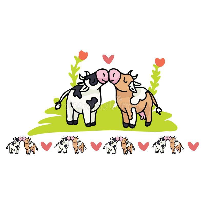 逗人喜爱的母牛爱动画片传染媒介例证主题集合 皇族释放例证