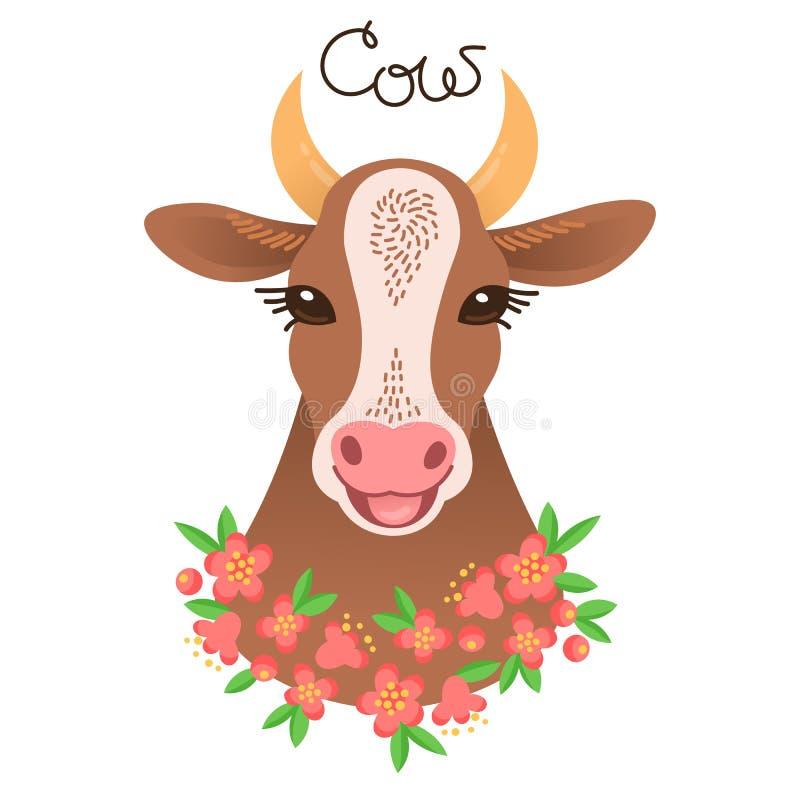 逗人喜爱的母牛画象 在动画片样式的小牛字符 向量例证