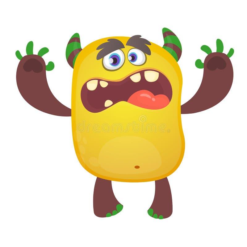 逗人喜爱的毛茸的橙色妖怪 传染媒介拖钓字符 儿童图书的,假日装饰设计 向量例证