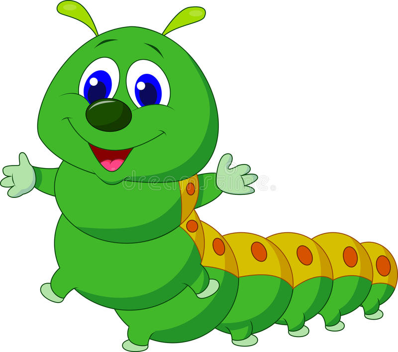 逗人喜爱的毛虫动画片 库存例证