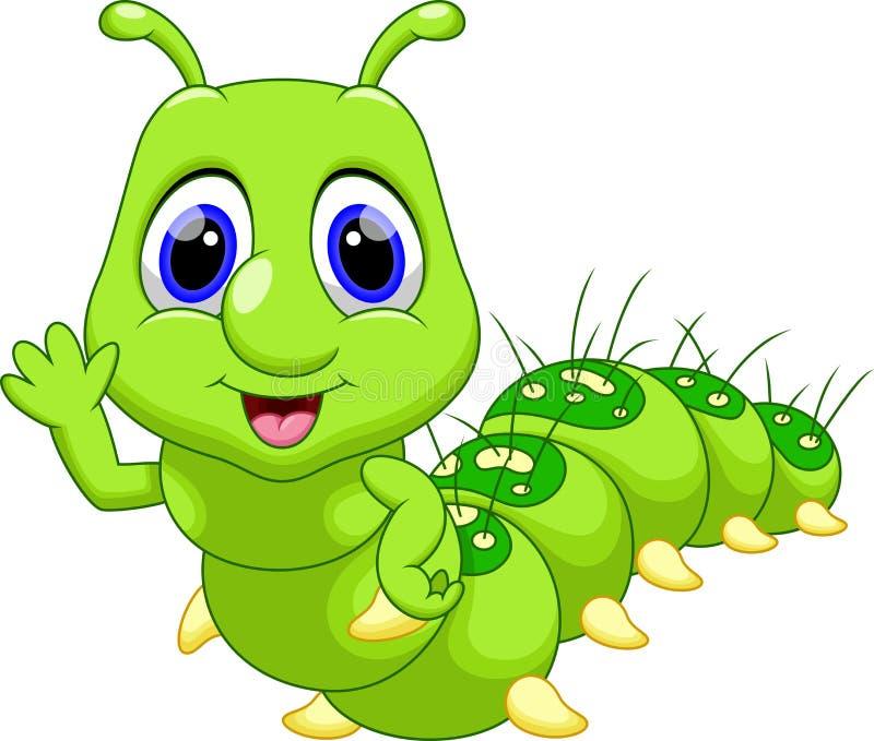 逗人喜爱的毛虫动画片 皇族释放例证