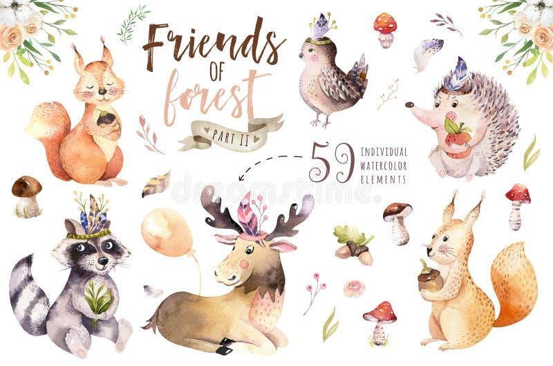 逗人喜爱的水彩漂泊婴孩动画片猬、灰鼠和麋动物nursary的,森林地隔绝了森林 皇族释放例证