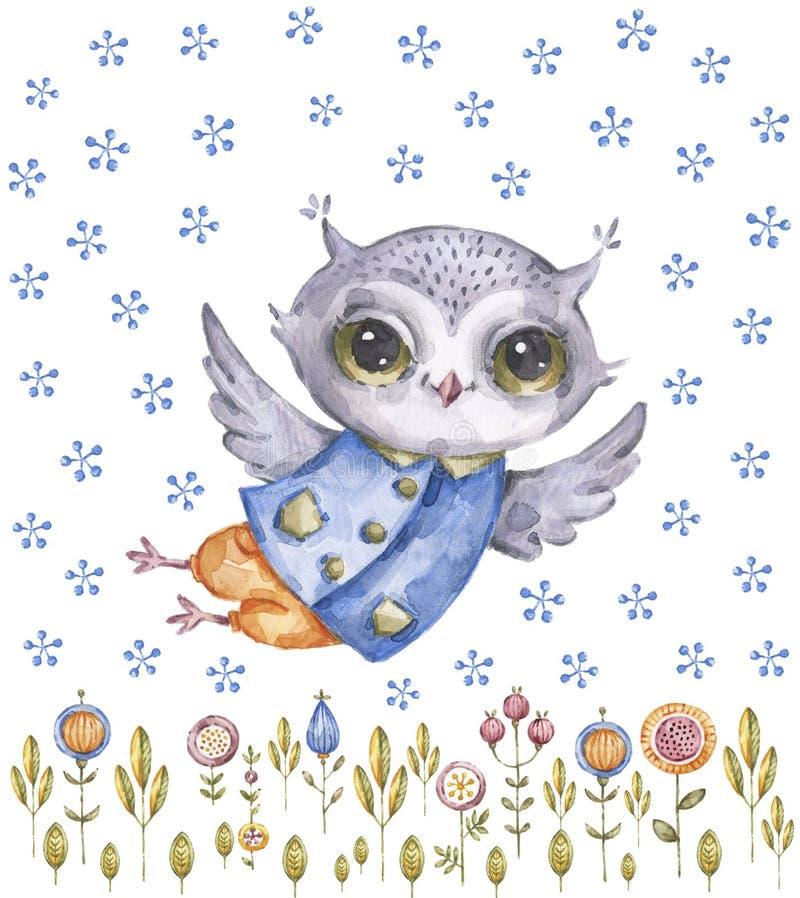 逗人喜爱的水彩画猫头鹰和野花,幼稚样式 库存例证
