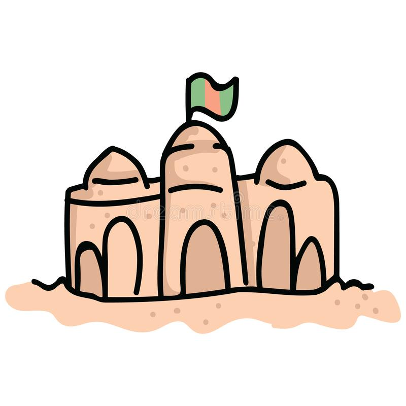 逗人喜爱的沙子城堡塔动画片传染媒介例证主题集合 手拉的孤立海滩夏日元素clipart为假期 向量例证