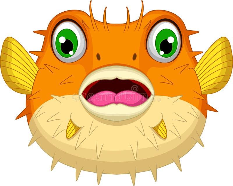 逗人喜爱的河豚或diodon holocanthus动画片 向量例证