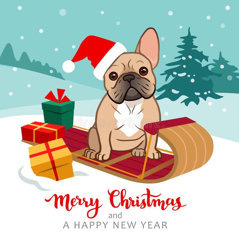 逗人喜爱的法国牛头犬小狗坐戴有圣诞礼物的雪撬圣诞老人帽子,与树的多雪的小山在背景中, 向量例证