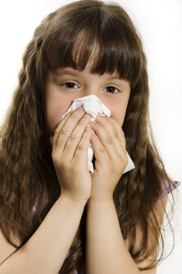 逗人喜爱的流感女孩一点 图库摄影