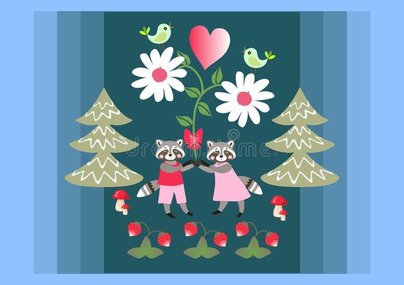 逗人喜爱的浣熊在童话夏天森林大雏菊花和心脏的握手 库存例证
