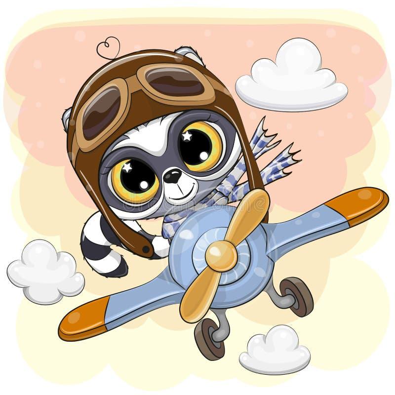 逗人喜爱的浣熊在飞机上飞行 库存例证