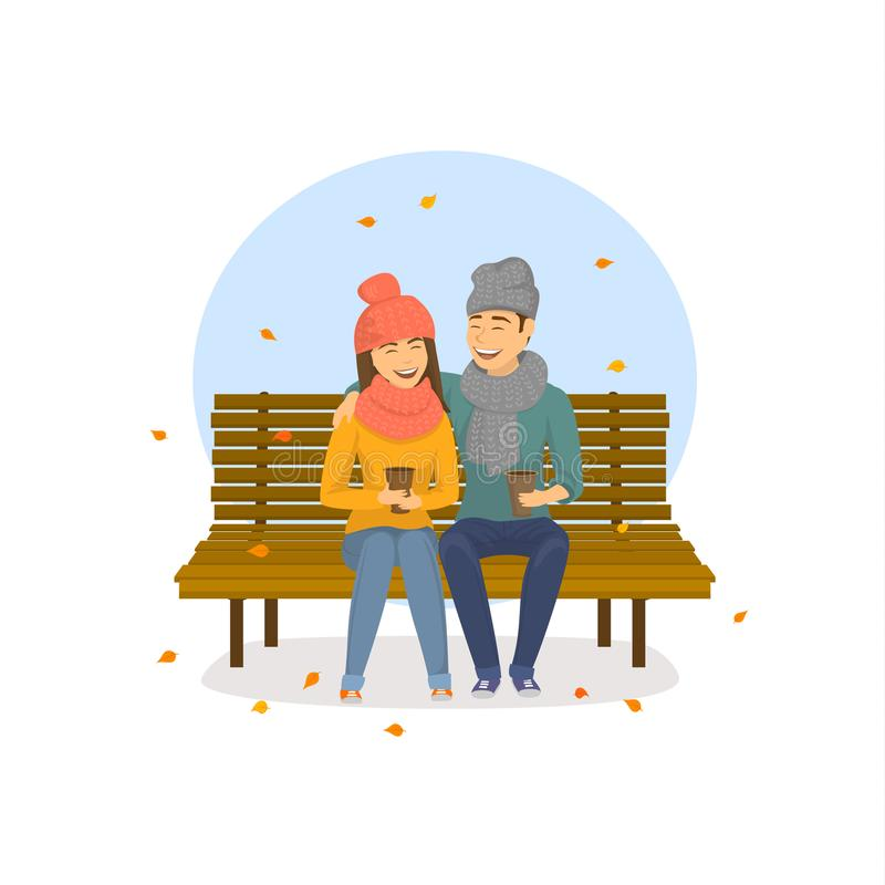 逗人喜爱的浪漫夫妇坐一条长凳在公园,秋天下跌的叶子场面 库存例证