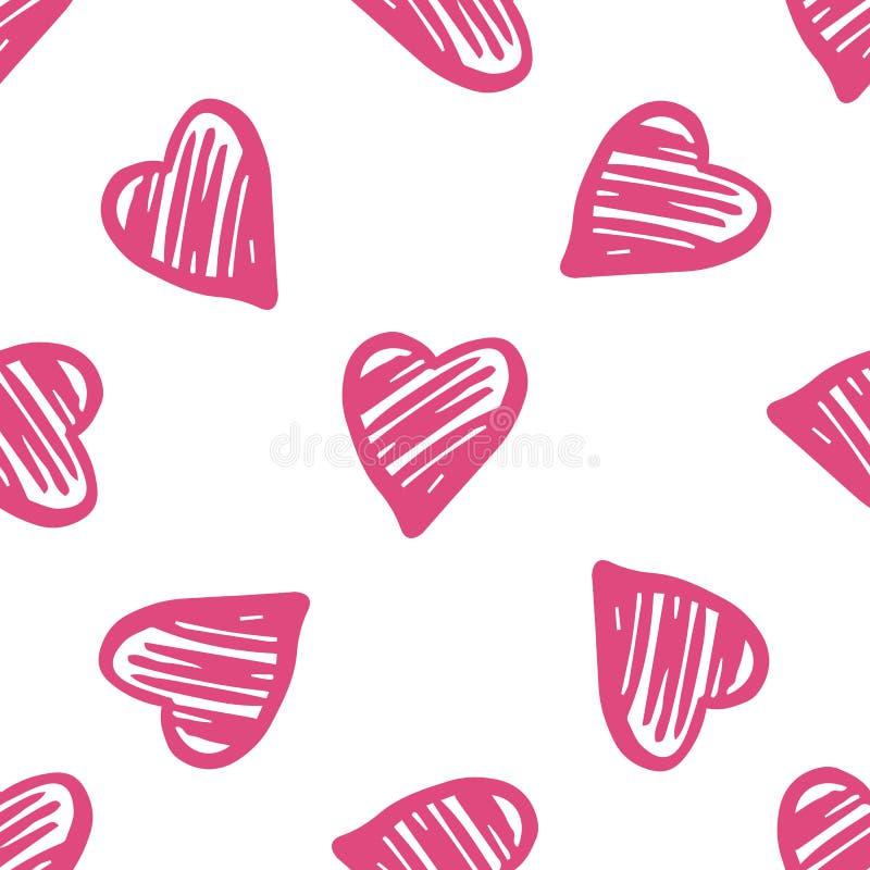 逗人喜爱的浪漫心脏无缝的样式 2月14日墙纸 皇族释放例证