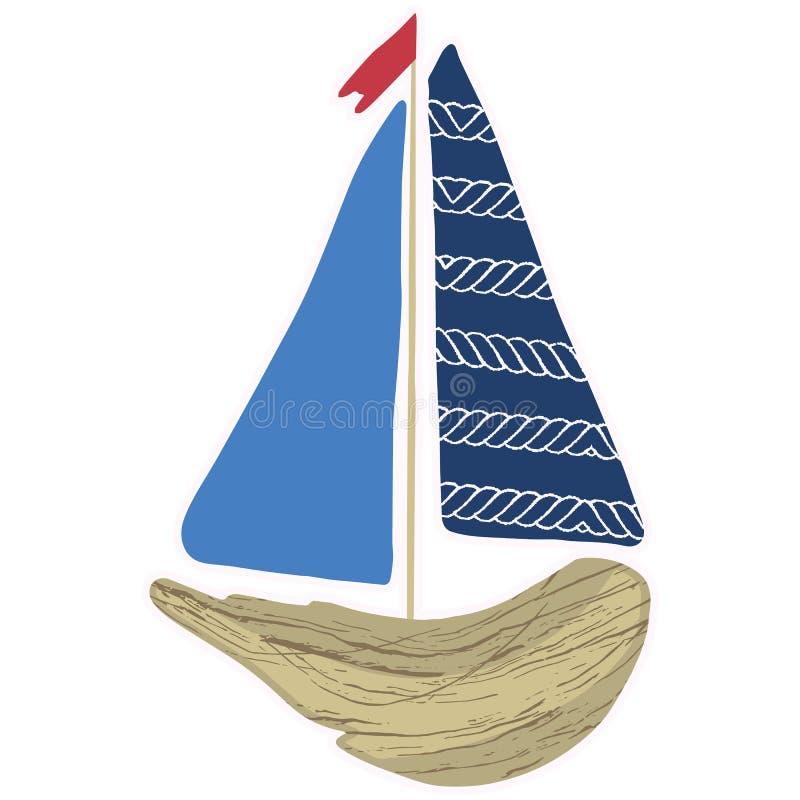 逗人喜爱的海军漂流木头小船动画片传染媒介例证主题集合 船舶博克的手拉的被隔绝的航海元素clipart, 皇族释放例证
