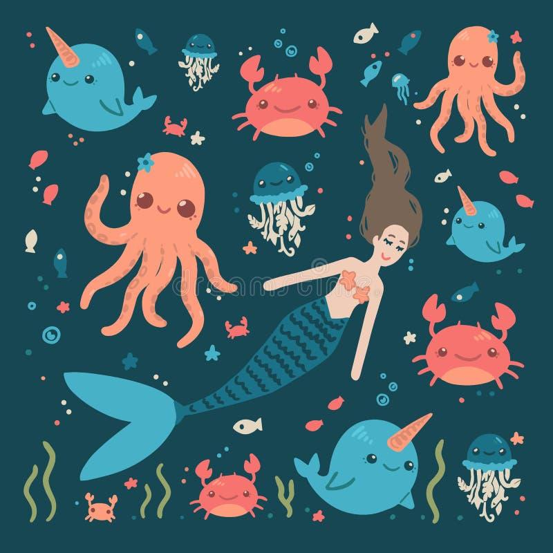 逗人喜爱的海字符美人鱼螃蟹鱼章鱼 库存例证