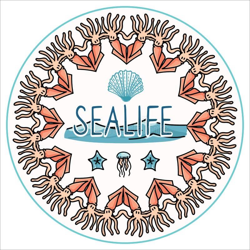 逗人喜爱的海洋生活集合动画片传染媒介例证主题集合 手拉的被隔绝的海星和头足纲动物元素clipart为 图库摄影