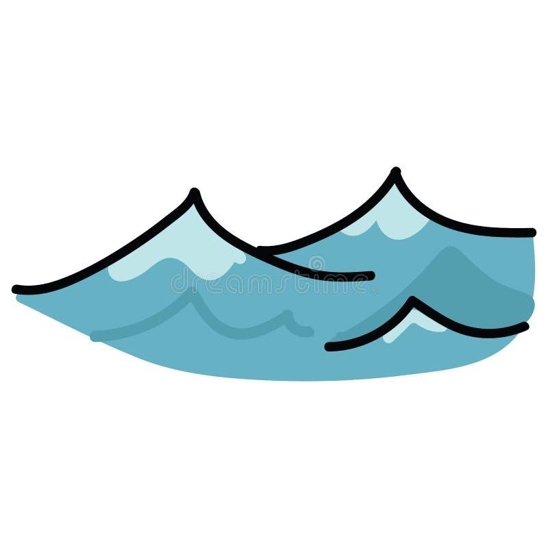 逗人喜爱的海浪动画片传染媒介例证主题集合 水生博克的手拉的被隔绝的船舶元素clipart 向量例证