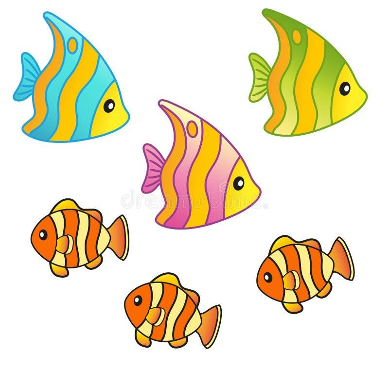 逗人喜爱的海热带鱼 集合海洋生物 传染媒介隔绝了元素 库存例证