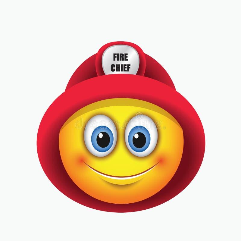 逗人喜爱的消防队员,消防员,意思号,佩带的红色盔甲- emoji -导航例证 库存例证