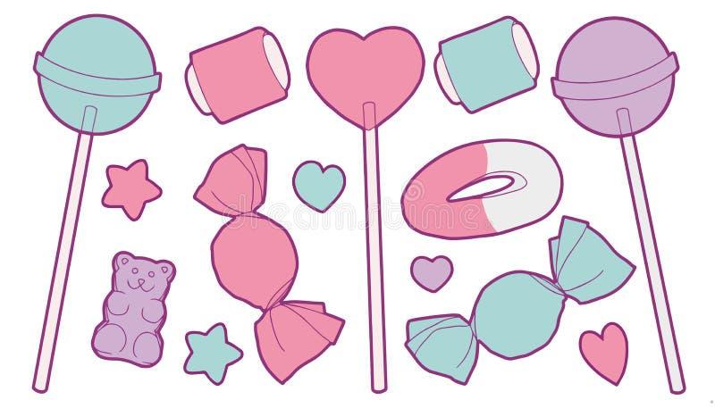 逗人喜爱的淡色色的动画片传染媒介收藏设置用象糖果、果子胶、棒棒糖、心脏和星的不同的甜点 向量例证