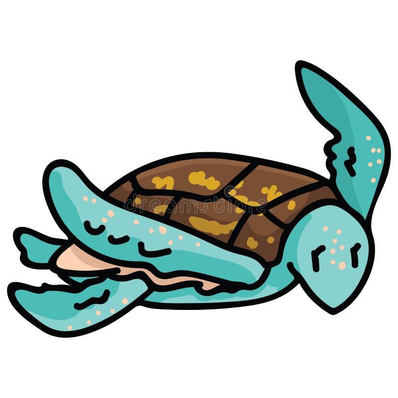 逗人喜爱的游泳的海龟动画片传染媒介例证主题集合 手拉的被隔绝的危险的海洋生活元素clipart为 向量例证
