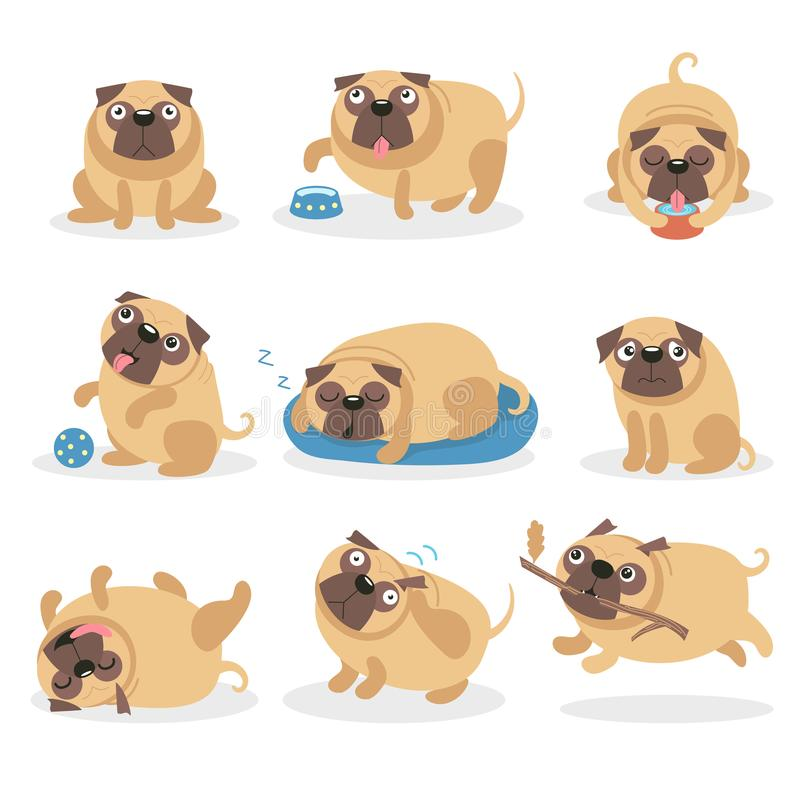逗人喜爱的滑稽的哈巴狗狗集合、狗用不同的姿势和情况动画片导航例证 皇族释放例证