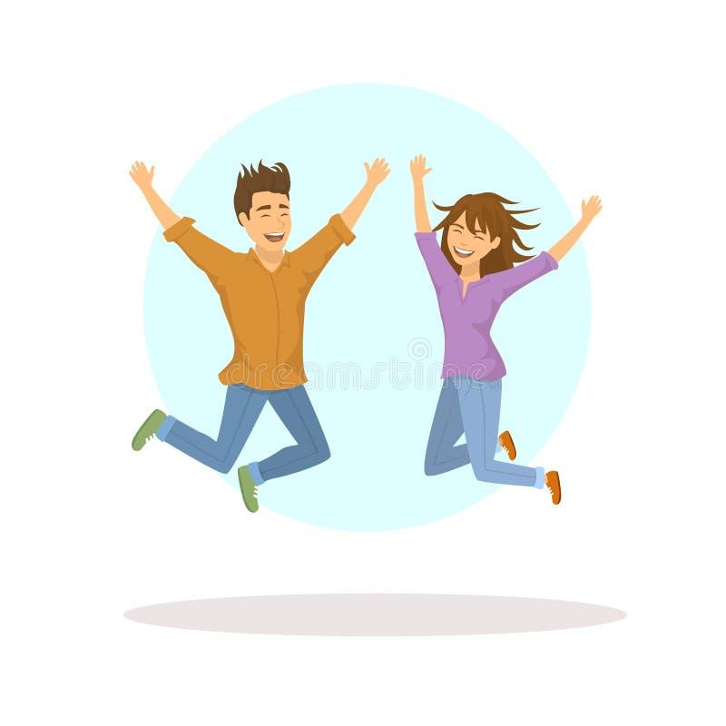 逗人喜爱的滑稽的夫妇、跳跃为喜悦的男人和妇女 向量例证