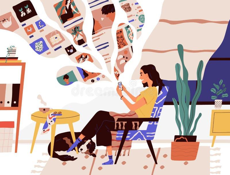 逗人喜爱的滑稽的女孩在轻松的扶手椅子和冲浪的互联网坐她的智能手机 微笑的年轻女人使用社会 皇族释放例证