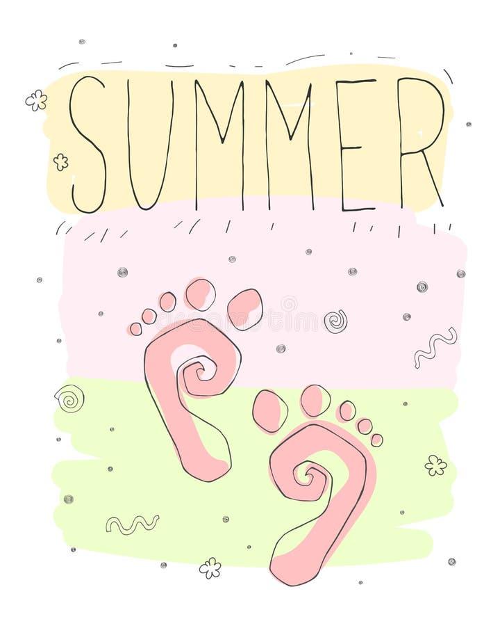 逗人喜爱的滑稽的孩子导航与动画片脚印的夏天卡片 向量例证