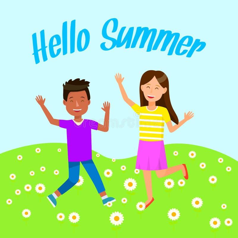 逗人喜爱的滑稽的孩子愉快夏令时假期 向量例证