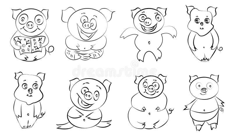 逗人喜爱的滑稽的愉快的动画片样式猪集合 皇族释放例证