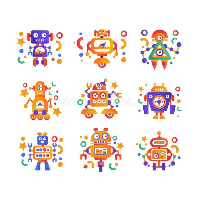 逗人喜爱的滑稽的机器人设置了,机器人字符,人为在白色的机器人学机器五颜六色的传染媒介例证 皇族释放例证