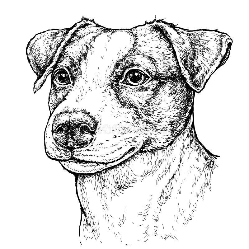 逗人喜爱的滑稽的杰克罗素狗狗手拉的葡萄酒样式剪影  也corel凹道例证向量 库存例证