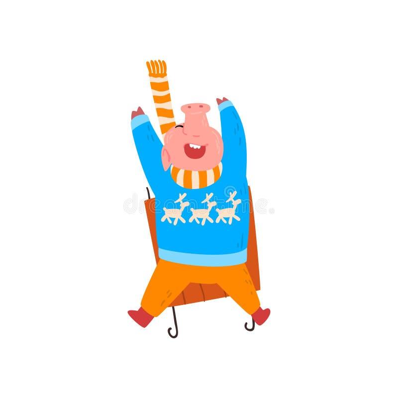 逗人喜爱的滑稽的猪sledding在小山下,贪心字符在温暖的明亮的衣裳,新年的中国标志穿戴了 向量例证