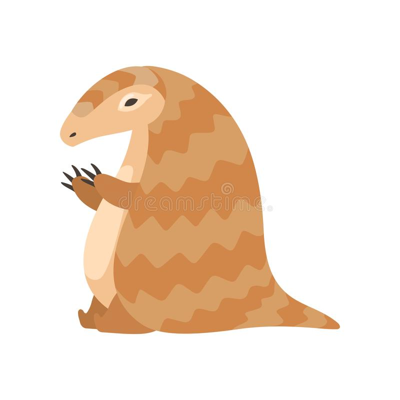 逗人喜爱的滑稽的穿山甲罕见的动物种类动画片传染媒介例证 皇族释放例证