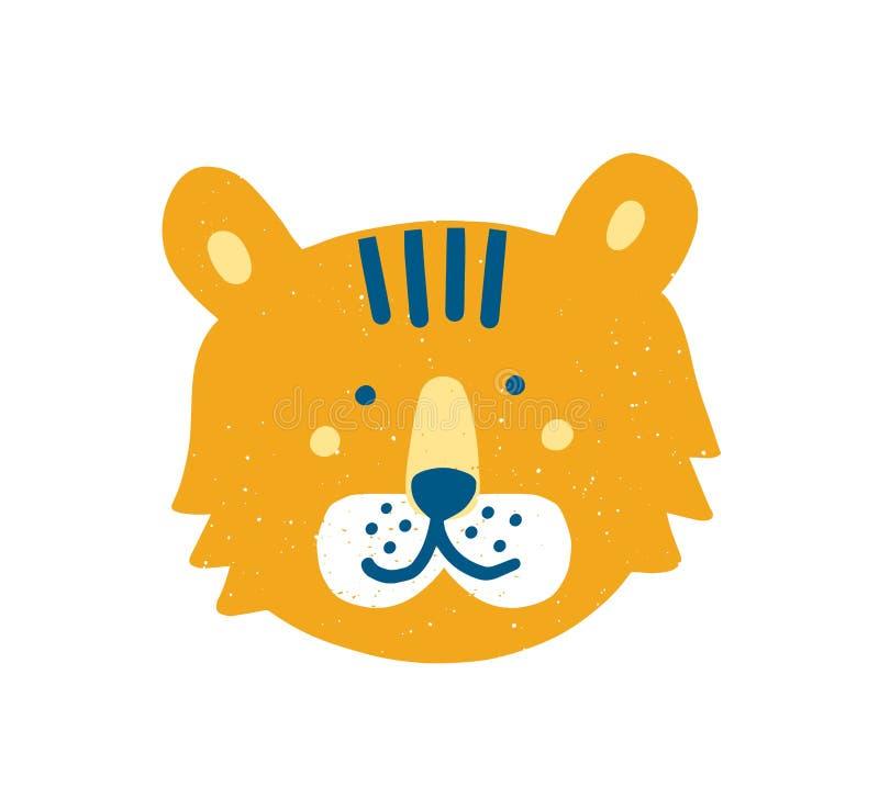 逗人喜爱的滑稽的老虎面孔或头 在白色背景或掠食性动物隔绝的可爱的动画片枪口异乎寻常的动物 皇族释放例证