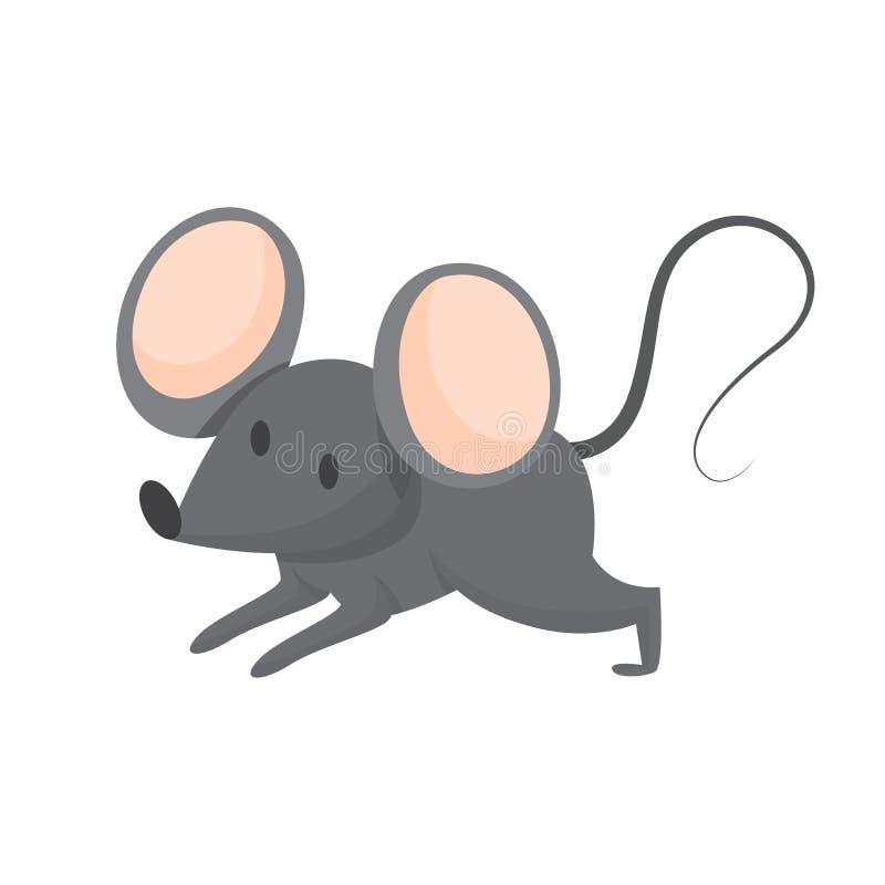逗人喜爱的滑稽的老鼠 与大耳朵和灰色毛皮的动物 库存例证