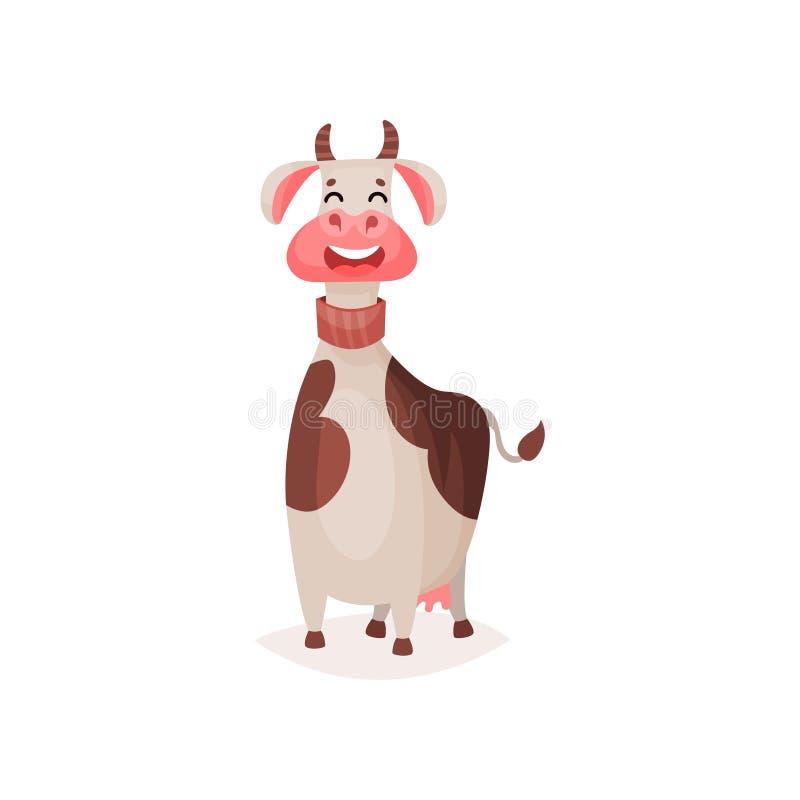 逗人喜爱的滑稽的被察觉的奶牛动画片传染媒介例证 皇族释放例证