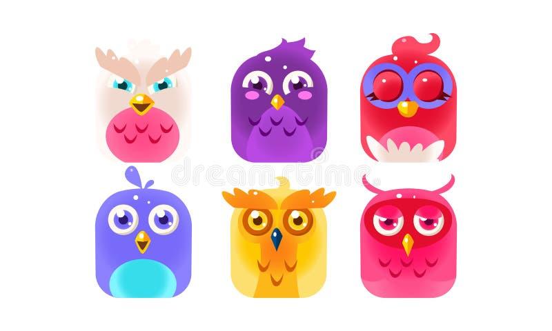 逗人喜爱的滑稽的鸟集合,五颜六色的光滑的小鸟传染媒介例证 库存例证