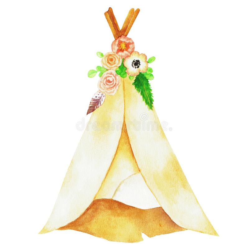 逗人喜爱的漂泊圆锥形帐蓬水彩例证 皇族释放例证