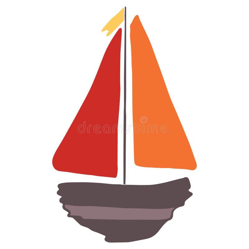 逗人喜爱的漂流木头小船动画片传染媒介例证主题集合 船舶博克的手拉的被隔绝的航海元素clipart, 皇族释放例证
