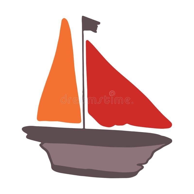 逗人喜爱的漂流木头风船动画片传染媒介例证主题集合 船舶博克的手拉的被隔绝的航海元素clipart, 皇族释放例证