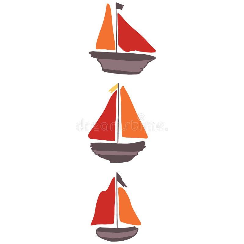 逗人喜爱的漂流木头风船小组动画片传染媒介例证主题集合 船舶的手拉的被隔绝的航海元素clipart 皇族释放例证