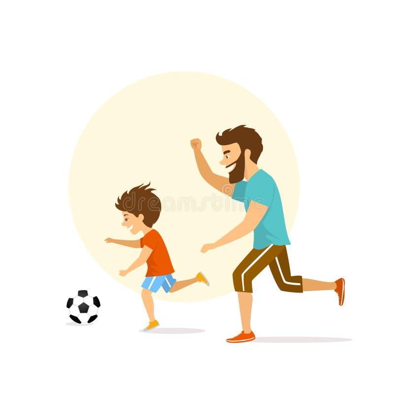 逗人喜爱的激动的快乐的活跃家庭、人和男孩、踢足球的父亲和儿子 库存例证