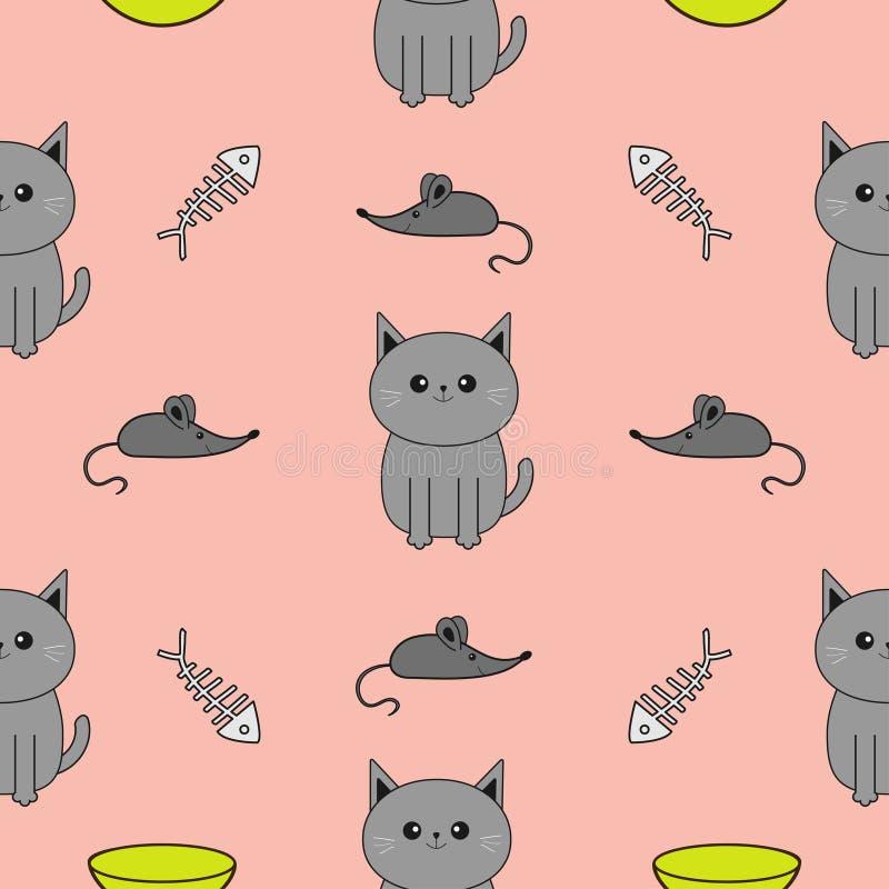 逗人喜爱的灰色动画片猫 碗,鱼骨,老鼠玩具 滑稽的微笑的字符 被隔绝的等高 无缝的样式桃红色背景 Fl 库存例证