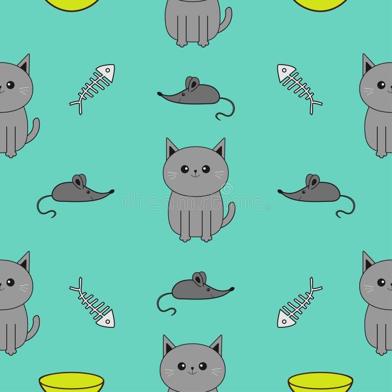 逗人喜爱的灰色动画片猫 碗,鱼骨,老鼠玩具 滑稽的微笑的字符 被隔绝的等高 无缝的样式蓝色背景 Fl 皇族释放例证