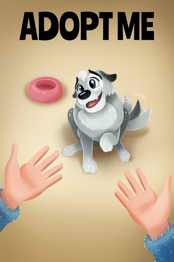 逗人喜爱的灰色狗和在上写字采取我 宠物避难所的海报 向量例证